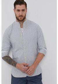 Selected - Koszula bawełniana. Typ kołnierza: kołnierzyk stójkowy. Kolor: szary. Materiał: bawełna. Długość rękawa: długi rękaw. Długość: długie