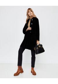 Czarny płaszcz ALMAROSAFUR z długim rękawem, na zimę, klasyczny