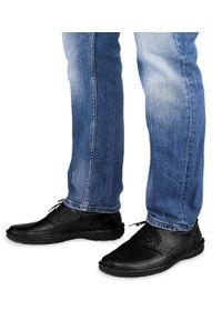 ESCOTT - Półbuty męskie Escott 1167 Czarne. Zapięcie: sznurówki. Kolor: czarny. Materiał: tworzywo sztuczne, skóra. Obcas: na obcasie. Styl: elegancki. Wysokość obcasa: średni, niski