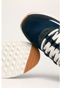 Niebieskie sneakersy Wrangler z okrągłym noskiem, z cholewką