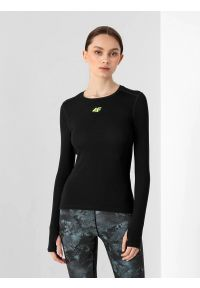 4f - Longsleeve do biegania slim szybkoschnący damski. Kolor: czarny. Materiał: włókno, skóra, materiał. Długość rękawa: długi rękaw. Sport: fitness, bieganie