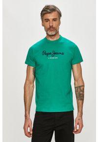 Pepe Jeans - T-shirt Eggo. Kolor: turkusowy. Materiał: dzianina. Wzór: nadruk