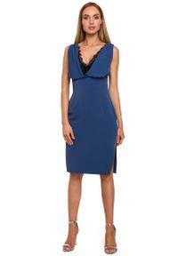 MOE - Niebieska Elegancka Sukienka bez Rękawów z Koronką. Kolor: niebieski. Materiał: koronka. Długość rękawa: bez rękawów. Wzór: koronka. Styl: elegancki