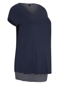 Niebieska bluzka bonprix moda ciążowa, w paski