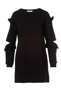 Born2be - Czarna Sukienka Fyserora. Typ kołnierza: kołnierz z falbankami. Kolor: czarny. Materiał: dzianina. Długość rękawa: długi rękaw. Wzór: aplikacja. Długość: mini