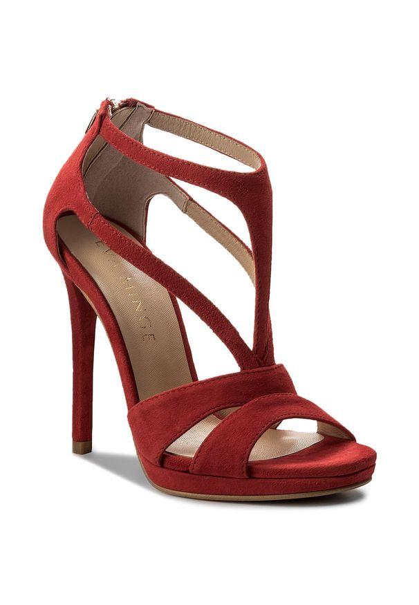 Czerwone sandały Eva Minge na obcasie, eleganckie, na średnim obcasie