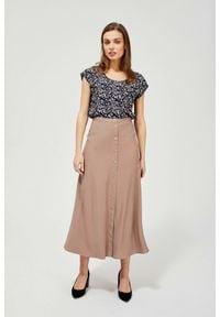 MOODO - Rozkloszowana spódnica z ozdobnymi guzikami. Materiał: wiskoza, poliester. Wzór: gładki
