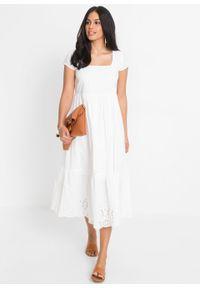 Sukienka midi z ażurowym haftem bonprix biel wełny. Kolor: biały. Materiał: wełna. Wzór: haft, ażurowy. Długość: midi