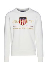 GANT - Biała bluza z motywem Archive Shield. Kolor: biały. Materiał: bawełna, jeans. Długość rękawa: długi rękaw. Długość: długie. Wzór: kolorowy. Styl: klasyczny