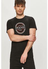 4f - 4F - T-shirt. Okazja: na co dzień. Kolor: czarny. Wzór: nadruk. Styl: casual