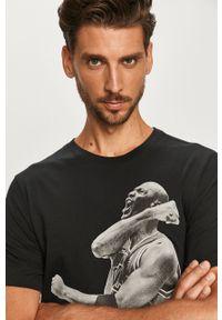 Czarny t-shirt Jordan z nadrukiem, na co dzień, casualowy