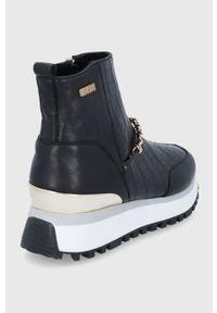 GOE - Buty skórzane. Nosek buta: okrągły. Kolor: czarny. Materiał: skóra. Szerokość cholewki: normalna