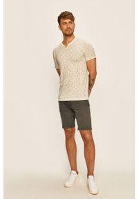 Brązowy t-shirt Premium by Jack&Jones casualowy, na co dzień