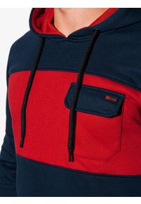 Ombre Clothing - Bluza męska z kapturem B1072 - granatowa - XXL. Typ kołnierza: kaptur. Kolor: niebieski. Materiał: poliester, bawełna