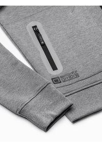 Ombre Clothing - Bluza męska rozpinana z kapturem B1086 - szary melanż - XXL. Typ kołnierza: kaptur. Kolor: szary. Materiał: bawełna, poliester. Wzór: melanż