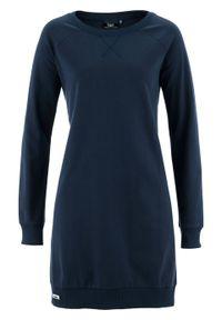 Sukienka dresowa z rękawami raglanowymi bonprix ciemnoniebieski. Kolor: niebieski. Materiał: dresówka. Długość rękawa: raglanowy rękaw. Wzór: prążki