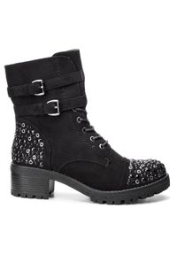 Czarne buty trekkingowe Jenny Fairy z cholewką, z aplikacjami
