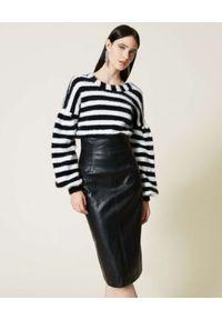 TwinSet - TWINSET - Czarna spódnica ze skóry ekologicznej. Stan: podwyższony. Kolor: czarny. Materiał: skóra ekologiczna
