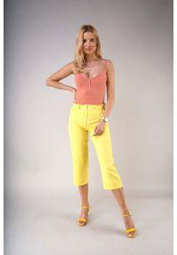 Nommo - Eleganckie Spodnie za Kolano z Prostą Nogawką - Żółte. Kolor: żółty. Materiał: wiskoza, poliester. Styl: elegancki