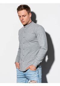 Ombre Clothing - Koszula męska z długim rękawem K542 - szara - XXL. Typ kołnierza: kołnierzyk stójkowy. Kolor: szary. Materiał: bawełna, dzianina. Długość rękawa: długi rękaw. Długość: długie. Wzór: kolorowy