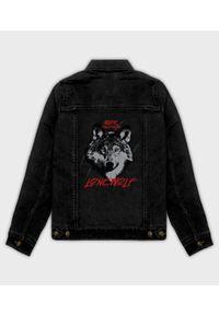 MegaKoszulki - Kurtka jeansowa damska Lonewolf. Materiał: jeans. Wzór: nadruk. Sezon: wiosna. Styl: klasyczny