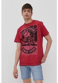 Czerwony t-shirt Lee Cooper z nadrukiem, na co dzień, casualowy