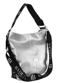 Shopper damski srebrny Badura T_D203SR/GL_CD. Kolor: srebrny. Wzór: gładki. Materiał: skórzane. Rodzaj torebki: na ramię