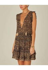 M.A.B.E - Sukienka mini Farrah. Kolor: brązowy. Materiał: bawełna. Wzór: kwiaty. Długość: mini