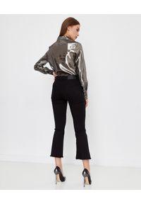 Pinko - PINKO - Srebrna koszula Circumpolare. Kolor: srebrny. Materiał: tkanina, materiał. Długość rękawa: długi rękaw. Długość: długie. Wzór: kropki. Sezon: lato. Styl: klasyczny