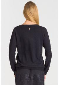 Czarny sweter Trussardi Jeans krótki, na spacer