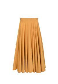 Żółta spódnica VEVA na jesień, melanż, krótka, do pracy