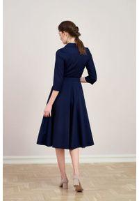 Marie Zélie - Sukienka Indis wełna granatowa. Kolor: niebieski. Materiał: wełna. Typ sukienki: trapezowe. Styl: vintage