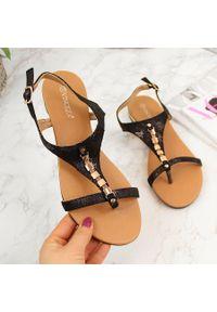 Sandały damskie japonki z ozdobą czarne Vinceza. Kolor: czarny. Materiał: materiał. Wzór: aplikacja