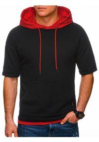 Ombre Clothing - Bluza męska z krótkim rękawem B1221 - czarna/czerwona - XXL. Okazja: na co dzień. Kolor: czerwony. Materiał: elastan, bawełna. Długość rękawa: krótki rękaw. Długość: krótkie. Wzór: aplikacja, melanż. Styl: sportowy, casual, klasyczny