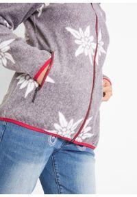 Bluza rozpinana z polaru w stylowy biały wzór bonprix antracytowy melanż. Kolor: szary. Materiał: polar. Wzór: melanż. Styl: elegancki