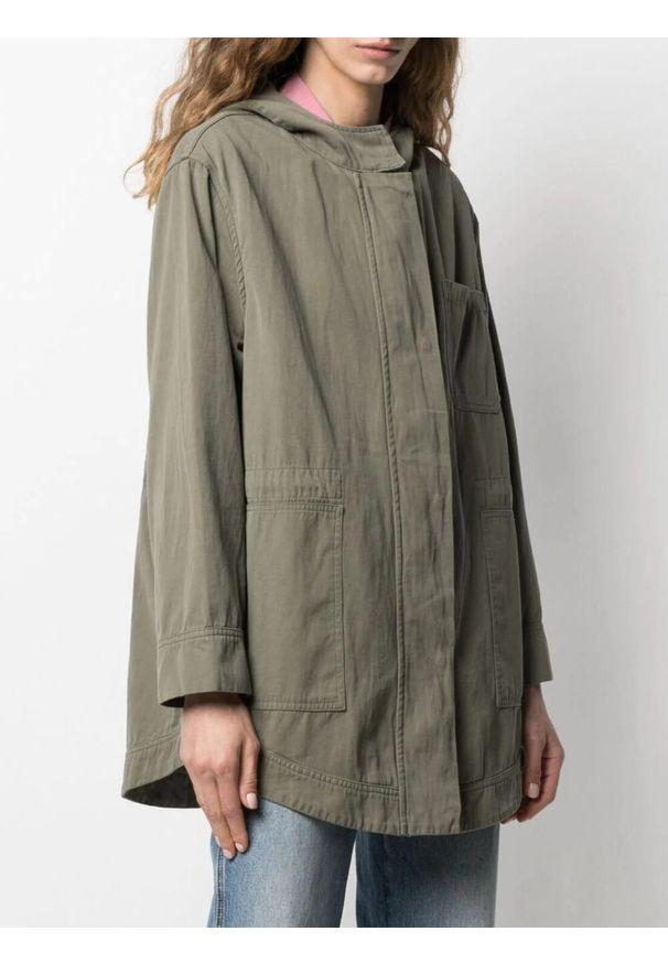 Brązowa kurtka TwinSet z kapturem, klasyczna, długa, z długim rękawem