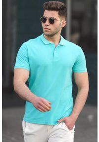 IVET - T-shirt męski CARTER TURQUA. Okazja: na co dzień. Typ kołnierza: polo. Kolor: turkusowy. Materiał: materiał. Styl: casual #1