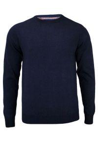 Niebieski sweter Adriano Guinari biznesowy, do pracy, z klasycznym kołnierzykiem