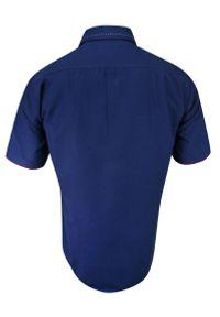 Niebieska elegancka koszula Rigon krótka, na spotkanie biznesowe