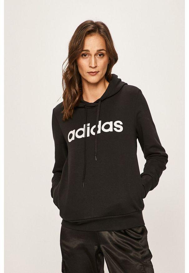 Czarna bluza Adidas z nadrukiem, z kapturem
