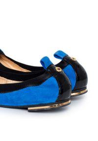 POLETTO - Zamszowe baleriny. Kolor: niebieski. Materiał: zamsz. Styl: elegancki