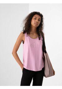 4f - Top basic regular gładki damski. Kolor: różowy. Materiał: dzianina, materiał. Wzór: gładki