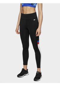 4f - Legginsy treningowe damskie. Kolor: czarny. Materiał: materiał. Długość: do kostek. Wzór: gładki