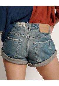 ONETEASPOON - Spodenki Colorado Bandits. Stan: obniżony. Kolor: niebieski. Materiał: jeans, len. Wzór: aplikacja. Styl: klasyczny, elegancki, vintage