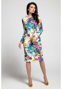 Nommo - Kwiatowa Klasyczna Dopasowana Sukienka za Kolano. Materiał: wiskoza, poliester. Wzór: kwiaty. Styl: klasyczny