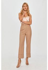Beżowe spodnie materiałowe Sportmax Code klasyczne, z podwyższonym stanem