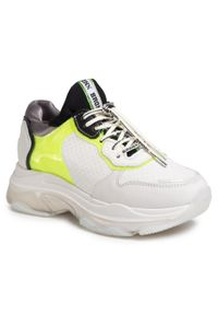 Białe buty sportowe Bronx na płaskiej podeszwie, z cholewką