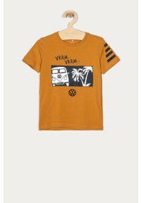 Oliwkowy t-shirt Name it z nadrukiem, na co dzień, casualowy