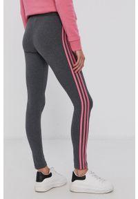 Adidas - adidas - Legginsy. Kolor: szary. Materiał: bawełna