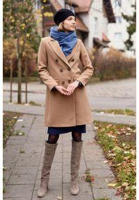 Marie Zélie - Płaszcz wełniany Debora beżowy – flausz. Kolor: beżowy. Materiał: wełna. Wzór: motyw zwierzęcy, ze splotem. Sezon: zima. Styl: klasyczny #5